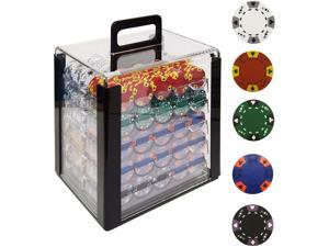 Generic 1000 14g Tri Color Ace/King Clay Poker Chips w/Acrylic Case