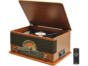 Pyle PTCD56UBWD Vintage Retro Classic Style Bluetooth Turntable System with Vinyl/MP3 Recording Ability (Wood Style)