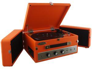 Pyle PLTT82BTOR Retro Vintage Classic Style Bluetooth Turntable Record Player with Vinyl-to-MP3 Recording (Orange)