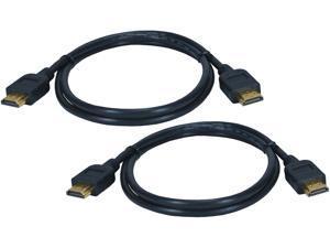 QVS HDG-K1 6.56 ft. Black 2-Pack High Speed HDMI UltraHD 4K Blu-ray HDTV Cables