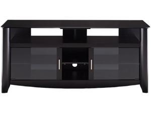 "BUSH FURNITURE MY16960-03 Black Aero Collection TV Stand with Glass Top Shelf, 60"" TV, max load 154lbs"