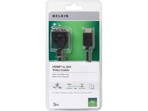 Belkin F3Y005CP3M 3M Charcoal HDMI Digital Audio/Video - DVI-D Digital Video HDMI/DVI Video Cable for Monitor