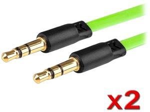 Insten 1543670 3.3 ft. 2 x 3.5mm Stereo Extension Cable Green M-M