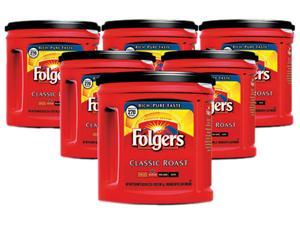 Folgers                                  Coffee, Classic Roast Regular, Ground, 33.9 oz., Can, 6/Carton