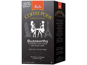 Melitta 75412 Coffee Pods, Buzzworthy (Dark Roast), 18 Pods/Box