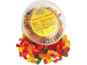 Office Snax Gummy Bears, Assorted Flavors, 2 lb/Tub