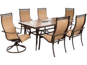 Hanover MONACO7PCSW Monaco 7pc Dining Set (4 cast dining, 2 swivel rockers, Porcelain Table)