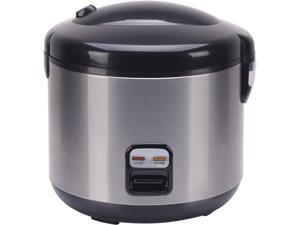 Sunpentown SC-1813SS Black/Stainless Steel 10-cups Rice Cooker with Stainless Body