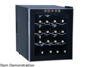 Sunpentown WC-1682 16-Bottle 16-bottle Thermo-Electric Wine Cooler Black with platinum trim