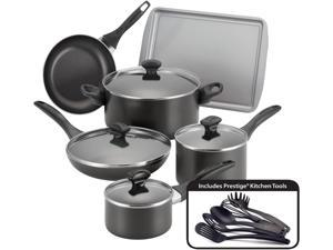 Farberware  21806  Dishwasher Safe Nonstick 15-Piece Cookware Set  Black
