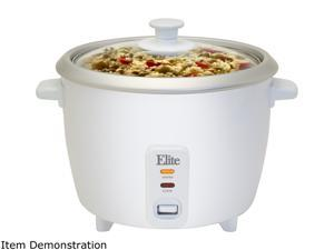 Maxi-Matic Elite ERC-008ST White Gourmet 8 Cups (Uncooked)/16 Cups (Cooked) Rice Cooker with Glass Lid