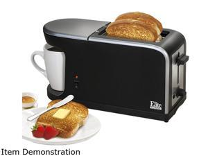 Maxi-Matic Elite ECT-819 Black Elite Cuisine Breakfast Station - 2 Slice Toaster and Single Serve Coffee Maker