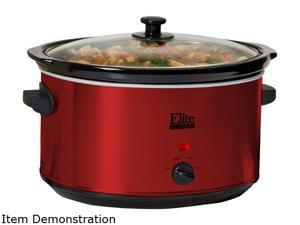 Elite MST-900R Red Deluxe Sized 8.5 Qt. Stainless Steel Slow Cooker