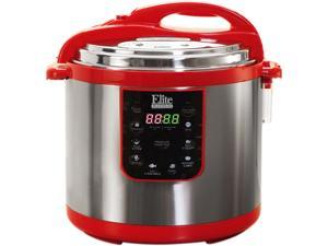 Elite EPC-1013R 10 Quarts Electric Pressure Cooker (Stainless Steel) Red