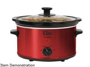 MAXI-MATIC MST-275XR Elite Gourmet 2 Qt. Slow Cooker, Red