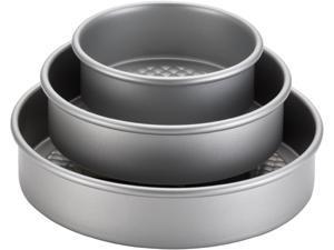 Cake Boss 59426 Professional Nonstick Bakeware 3-Piece Round Cake Pan Set, Silver