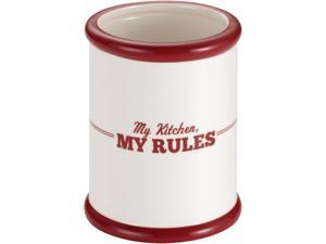 """Cake Boss  58687  Countertop Accessories Ceramic Tool Crock, Cream with Red """"My Kitchen, My Rules"""" Pattern"""