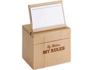 """Cake Boss  59564  Countertop Accessories Beechwood Recipe Box with """"My Kitchen, My Rules"""""""