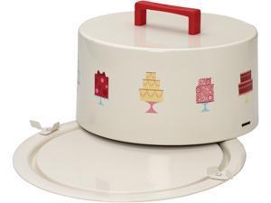 "Cake Boss  58672  Serveware Metal Cake Carrier, ""Mini Cakes,"" Cream"