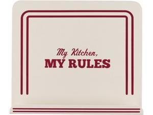 "Cake Boss  59492  Countertop Accessories Metal Cookbook Stand with ""My Kitchen, My Rules"" Decal, Cream"