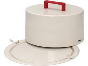 "Cake Boss  59733  Serveware Metal Cake Carrier, ""Icing"", Cream"
