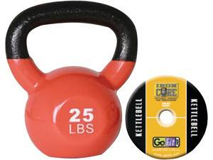 GoFit GF-KBELL25 Premium Kettlebell With Training DVD (25 Lbs&#59; Orange)