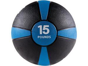 GoFit GF-MB15 Medicine Ball & Core Performance Training DVD (15 Lbs&#59; Black & Blue)