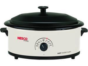 NESCO 4816-14 Ivory 6 Qt. 6-Quart Roaster Oven, Ivory, Metal Lid