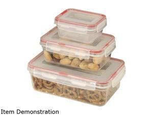 Cookpro 619 6 pc Food Container Set with Airtight Seal Square Covers