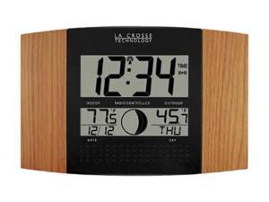 La Crosse WS-8117U-IT-OAK Atomic Wall Clock With Indoor And Outdoor Temperature And Moon Phase