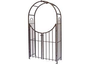 Plastec Products Arched Top Garden Arbor with Gate - Steel (Brushed Bronze)