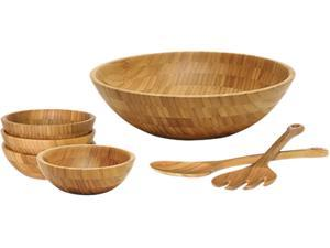 Lipper 8204/7 Bamboo 7-Piece Round Salad Bowl Set w/ Pair of Spoons