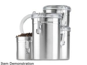 Anchor Hocking 24954 4-Piece Stainless Clamp Canister Set w/ Clear Lid
