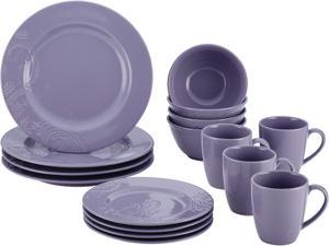 BONJOUR  54039  Dinnerware Paisley Vine 16-Piece Stoneware Dinnerware Set, Lavender