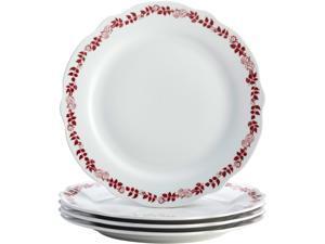 BONJOUR  54272  Dinnerware Yuletide Garland 4-Piece Porcelain Stoneware Fluted Dinner Plate Set, Print