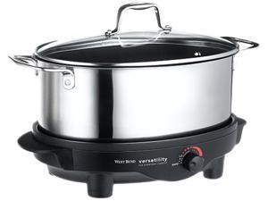 West Bend 84866 Stainless Steel 6 Qt. Versatility Slow Cooker with glass cover