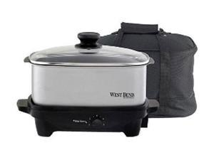 West Bend 84915 Chrome 5 Qt. Oblong Slow Cooker with Tote