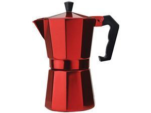 Primula PERE-3306 Aluminum 6 Cup Stovetop Espresso Maker - Red Red