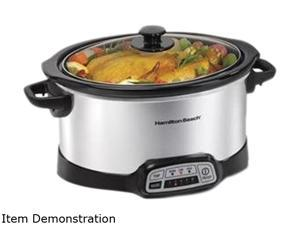 Hamilton Beach 33453 Silver Programmable 5 Quart Slow Cooker