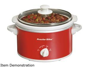 Proctor Silex  33111Y  Red  1.5 Qt.  1.5 Quart Oval Slow Cooker, Red