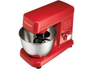 Hamilton Beach 63328 6 Speed 300 Watt Red Stand Mixer with 3.5 Qt Stainless Steel Bowl Red