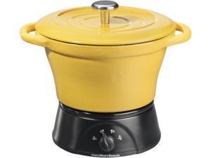 Hamilton Beach 33411 Yellow 1.5 Qt. 1.5 Quart Cast Iron Party Crock, Yellow