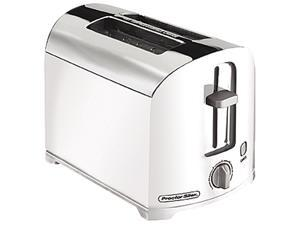 Hamilton Beach 22632 White & Chrome Proctor Silex 2 Slice Toaster, White & Chrome
