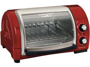Hamilton Beach 31337 Red Easy Reach 4 Slice Toaster Oven Broiler