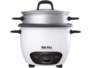 AROMA ARC-743-1NG White 3 Cups (Uncooked)/6 Cups (Cooked) Pot-Style Rice Cooker