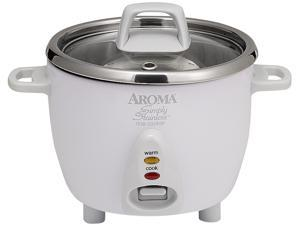 AROMA ARC-757SG White Simply Stainless 14-Cup Rice Cooker