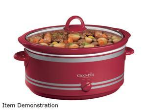 RIVAL SCV702-NP Red 7 Qt. Crock-Pot 7 Qt Oval Manual Slow Cooker