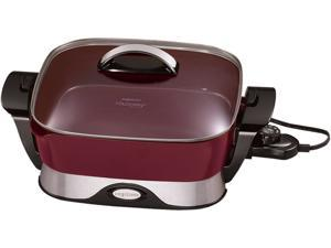 "PRESTO 07115 Red 12"" Electric Foldaway Ceramic Skillet"