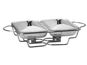 LIFETIME BRANDS 5112477 Towle Living Modernist Chrome-Plated Double 1-1/2-Quart Oblong Bake and Serve Warmer