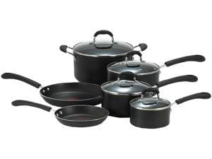 T-fal E938SA74 10pc Cookware Set Black